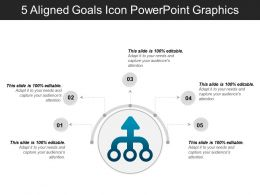 5 Aligned Goals Icon Powerpoint Graphics