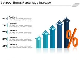 5 Arrow Shows Percentage Increase Powerpoint Slide Rules