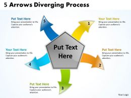 5 arrows diverging concept process chart software powerpoint templates