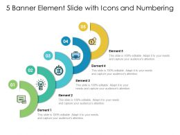 5 Banner Element Slide With Icons And Numbering
