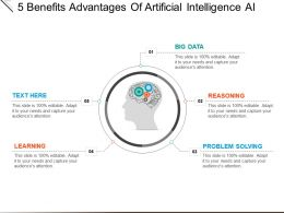 5 Benefits Advantages Of Artificial Intelligence Ai Powerpoint Images