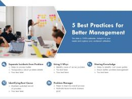 5 Best Practices For Better Management