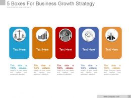 5 Boxes For Business Growth Strategy Sample Ppt Presentation