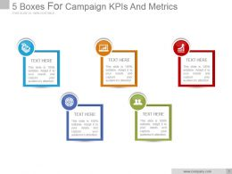5 Boxes For Campaign Kpis And Metrics Good Ppt Example
