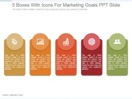 5 Boxes With Icons For Marketing Goals Ppt Slide