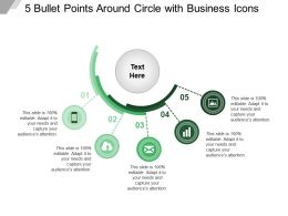 5 Bullet Points Around Circle With Business Icons