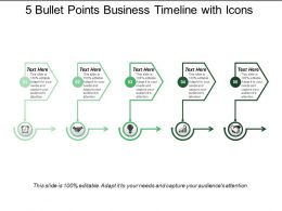 5 Bullet Points Business Timeline With Icons
