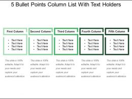 5 Bullet Points Column List With Text Holders