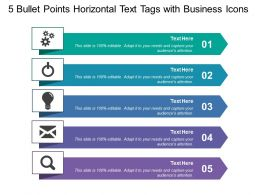5 Bullet Points Horizontal Text Tags With Business Icons