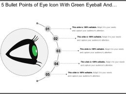 5 Bullet Points Of Eye Icon With Green Eyeball And Black Eyelashes