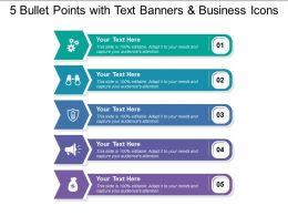 5 Bullet Points With Text Banners And Business Icons