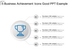 5 Business Achievement Icons Good Ppt Example