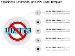 5 Business Limitations Icon Ppt Slide Template