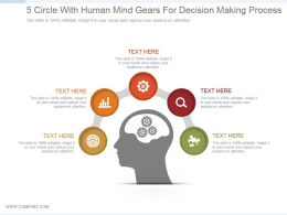 5 Circle With Human Mind Gears For Decision Making Process Ppt Slide