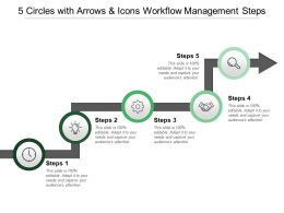 5 Circles With Arrows And Icons Workflow Management Steps