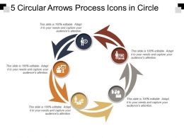 5 Circular Arrows Process Icons In Circle