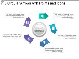 5 Circular Arrows With Points And Icons