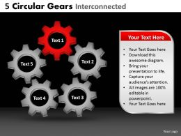 5 Circular Gears Interconnected Powerpoint Slides And Ppt Templates DB