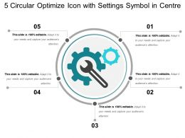 5 Circular Optimize Icon With Settings Symbol In Centre