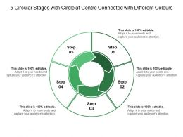 5 Circular Stages With Circle At Centre Connected With Different Colours