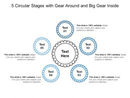 5 Circular Stages With Gear Around And Big Gear Inside