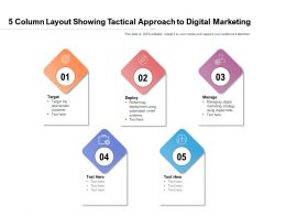 5 Column Layout Showing Tactical Approach To Digital Marketing