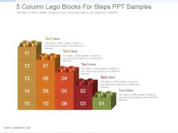 5 Column Lego Blocks For Steps Ppt Sample