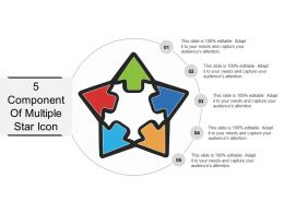 5 Component Of Multiple Star Icon PowerPoint Slide
