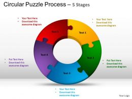 5 Components Circular Puzzle Process Powerpoint Slides And ppt Templates 0412