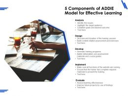 5 Components Of ADDIE Model For Effective Learning
