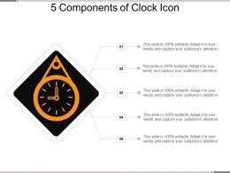 5 Components Of Clock Icon PowerPoint Slides