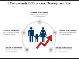 5 Components Of Economic Development Icon Ppt Diagrams