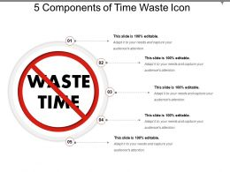 5 Components Of Time Waste Icon Ppt Presentation