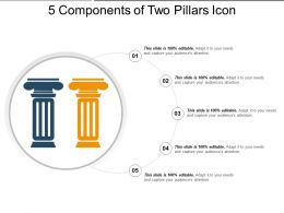 5 Components Of Two Pillars Icon Powerpoint Templates