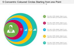 5 Concentric Coloured Circles Starting From One Point