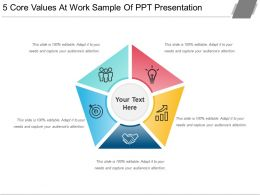 5 Core Values At Work Sample Of Ppt Presentation