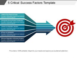 5 Critical Success Factors Template Ppt Background