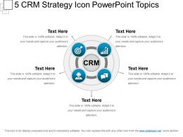 5 Crm Strategy Icon PowerPoint Topics