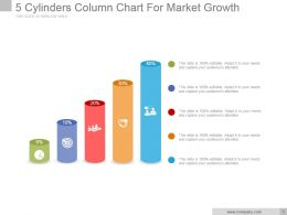 5 Cylinders Column Chart For Market Growth Powerpoint Templates