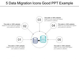 5 Data Migration Icons Good Ppt Example