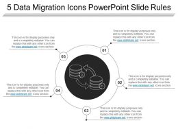 5 Data Migration Icons Powerpoint Slide Rules