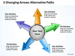5 diverging arrows alternative paths Charts and PowerPoint templates