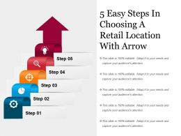 5 Easy Steps In Choosing A Retail Location With Arrow Powerpoint Slide Introduction