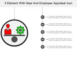 5 Element With Gear And Employee Appraisal Icon