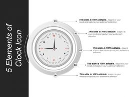 5 Elements Of Clock Icon Powerpoint Templates