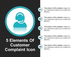 5 Elements Of Customer Complaint Icon Powerpoint Guide