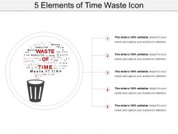 5 Elements Of Time Waste Icon Ppt Sample Presentations