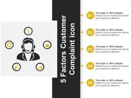 5 Factors Customer Complaint Icon Powerpoint Ideas