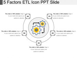 5 Factors Etl Icon Ppt Slide