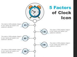 5 Factors Of Clock Icon Ppt Background